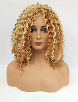 Women Synthetic Wig Capless Medium Jheri Curl Blonde With Bangs Natural Wigs Costume Wig
