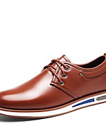 Men's Shoes PU Spring Fall Comfort Oxfords Lace-up For Casual Office & Career Blue Brown Black