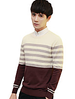 Men's Plus Size Going out Casual/Daily Vintage Simple Street chic Regular Pullover,Solid Striped Print Round Neck Long Sleeves Cotton