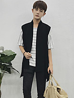 Men's Work Regular Vest,Solid Round Neck Long Sleeves Others Spring Fall Medium Micro-elastic