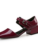 Women's Shoes Patent Leather Fall Winter Comfort Heels Chunky Heel For Party & Evening Dress Wine Green Black