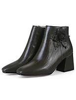 Women's Shoes Synthetic Microfiber PU Spring Fall Comfort Novelty Bootie Boots Chunky Heel Pointed Toe Applique For Office & Career Dress