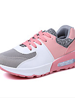 Women's Shoes Fabric Leatherette Spring Fall Comfort Sneakers Flat Heel Round Toe Split Joint Lace-up For Casual Blushing Pink Black