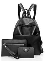 Women Bags All Seasons PU Bag Set Zipper for Casual Office & Career Black