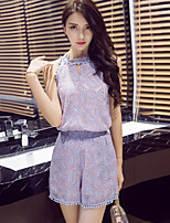Women's Casual/Daily Cute Summer Blouse Pant Suits,Solid Halter Sleeveless Micro-elastic