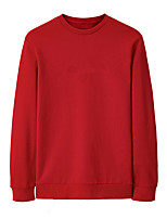 Men's Casual/Daily Sweatshirt Solid Round Neck Micro-elastic Cotton Long Sleeve Fall