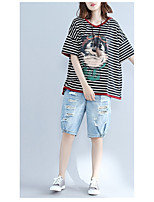 Women's Going out Casual/Daily Cute T-shirt,Striped Round Neck Short Sleeves Cotton