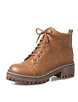 Feminino Sapatos Couro Ecológico Outono Inverno Conforto Botas Salto Grosso Ponta Redonda Cadarço Para Preto Marron Khaki