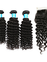 Human Hair Indian One Pack Solution Deep Wave Hair Extensions Four-piece Suit Black