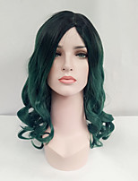 Women Synthetic Wig Capless Medium Length Wavy Black/Dark Green Ombre Hair Dark Roots Natural Wigs Costume Wig