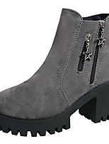 Women's Shoes PU Fall Comfort Fashion Boots Boots Chunky Heel Round Toe Mid-Calf Boots Zipper For Casual Gray Black