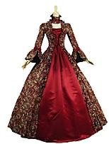 Rétro Rococo Victorien Costume Féminin Adulte Costume de Soirée Bal Masqué Rouge Vintage Cosplay Tissu Matelassé Manches Longues
