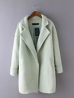 Women's Going out Casual/Daily Simple Spring Fall Fur Coat,Solid Notch Lapel Long Sleeve Regular Others Embroidered
