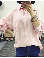 Women's Casual/Daily Simple Shirt,Solid Shirt Collar Long Sleeves Linen Others
