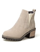 Women's Shoes Nubuck leather Fall Winter Comfort Boots Chunky Heel Round Toe Rivet For Outdoor Office & Career Brown Beige Black