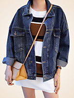 Women's Casual/Daily Simple Street chic Spring Fall Denim Jacket,Solid Shirt Collar Long Sleeve Regular Polyester