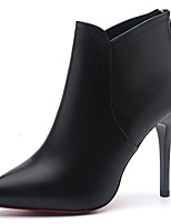 Feminino Sapatos Couro Ecológico Outono Coturnos Botas Salto Agulha Ponta Redonda Botas Curtas / Ankle Botas Cano Médio Ziper Para Casual