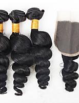 3Pcs/300g Brazilian Virgin Hair Loose Wave Hair Weft With 1Pcs 40g Lace Closure Free Part Raw Human Hair Weaves