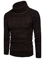 Men's Going out Casual/Daily Simple Cute Street chic Regular Pullover,Solid Turtleneck Long Sleeves Cotton Polyester Fall Winter Medium