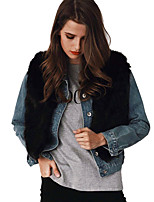 Women's Casual/Daily Work Club Simple Vintage Street chic Fall Winter Fur Coat,Solid V Neck Sleeveless Short Rabbit Fur Faux Fur