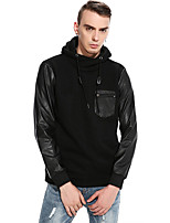 Men's Casual/Daily Simple Hoodie Solid Color Block Hooded Micro-elastic Polyester Long Sleeve Spring Fall