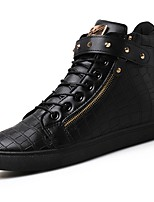 Women's Shoes PU Spring Fall Comfort Sneakers Flat Heel Round Toe Lace-up For Casual Outdoor Brown Silver Black