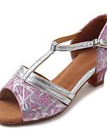 Kids' Latin Sparkling Glitter Leatherette Sandal Heel Practice Buckle Sparkling Glitter Chunky Heel Blushing Pink 1