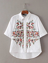 Women's Going out Simple Shirt,Floral Shirt Collar Half Sleeves Polyester