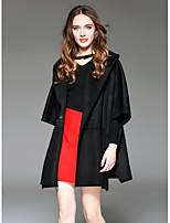 Women's Going out Street chic Fall Trench Coat,Solid Hooded Long Sleeve Regular Wool