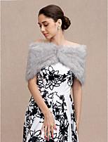 Women's Wrap Capelets Faux Fur Wedding Party/ Evening Buttons