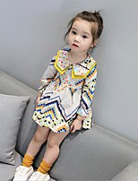 Girl's Print Dress,Cotton Polyester Spring Fall Long Sleeve