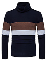 Men's Going out Casual/Daily Simple Regular Pullover,Color Block Turtleneck Long Sleeves Cotton Fall Winter Medium Stretchy