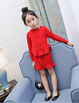 Girls' Solid Sets,Cotton Polyester Spring Fall Long Sleeve Clothing Set