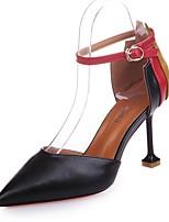 Для женщин Обувь Полиуретан Осень Туфли лодочки Обувь на каблуках На шпильке Заостренный носок Комбинация материалов Назначение Для