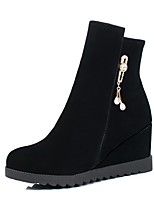 Women's Shoes Flocking Fall Winter Comfort Boots Wedge Heel Round Toe Rhinestone Zipper For Outdoor Office & Career Wine Beige Black