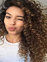 Femme Full Lace 130% Densité Coupe Carré Très Frisé Perruques Cheveux Brésiliens Blond Fraise / Blond Platine Pour Cheveux Africains