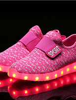 Girls' Shoes Knit Fabric Tulle Net Fall Winter Light Up Shoes Comfort Sneakers Magic Tape LED For Casual Outdoor Blushing Pink Blue Red