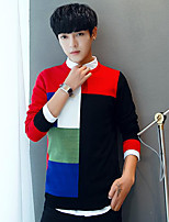 Men's Casual/Daily Regular Pullover,Color Block Round Neck Long Sleeves Others Spring Winter Medium Micro-elastic