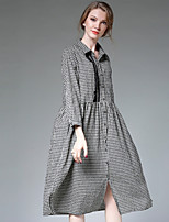Largo Camicia Vestito Da donna-Casual Semplice A scacchi Colletto Sopra il ginocchio Manica lunga Cotone Autunno A vita medio-alta