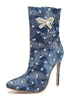 Femme Chaussures Toile de jean Automne Hiver Bottes de Cowboy / Western Bottes à la Mode Bottes Talon Aiguille Bout pointu Bottes