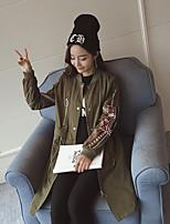 Impermeabile Da donna Per uscire Casual Moda città Primavera,Con stampe Colletto alla coreana Cotone Lungo Manica lunga