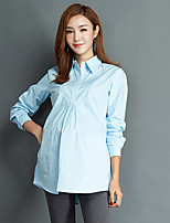 Women's Work Simple Fall ShirtSolid Shirt Collar Long Sleeves Cotton Medium