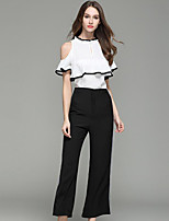 T-shirt Pantalone Completi abbigliamento Da donna Casual Semplice Estate,Tinta unita Rotonda Manica corta Media elasticità