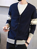 Men's Holiday Going out Regular Cardigan,Color Block V Neck Long Sleeves Others Spring Fall Medium Micro-elastic