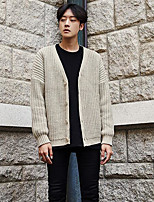 Men's Casual/Daily Regular Cardigan,Solid V Neck Long Sleeves Others Spring Fall Medium Micro-elastic