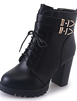 Women's Shoes PU Fall Winter Comfort Combat Boots Boots Block Heel Pointed Toe Mid-Calf Boots Lace-up For Casual Black