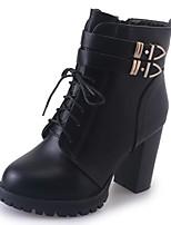 Femme Chaussures Polyuréthane Automne Hiver Confort boîtes de Combat Bottes Block Heel Bout pointu Bottes Mi-mollet Lacet Pour Décontracté