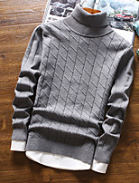 Men's Casual/Daily Regular Pullover,Solid Turtleneck Long Sleeves Cotton Fall Winter Medium Micro-elastic