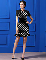 Baoyan Women's Casual/Daily Simple Trumpet/Mermaid Dress,Polka Dot Shirt Collar Knee-length Short Sleeves Polyester Summer Mid Rise Micro-elastic