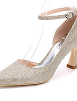 Women's Shoes Glitter Spring Fall Basic Pump Ankle Strap Wedding Shoes Chunky Heel Pointed Toe For Wedding Party & Evening Silver Gold